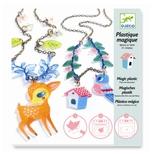 Krympe plast smykker - Hjort og fugle