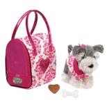 Pucci Schnauzer i taske, hvid/pink