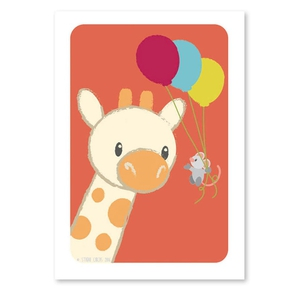 Giraf og mus postkort
