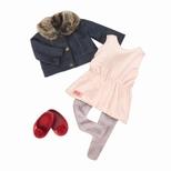 Dukketøj, jakke med pelskrave