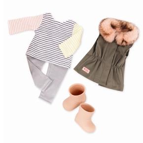 Dukketøj, vest med pelskrave