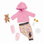 Deluxe dukketøj, pyjamassæt med bamse