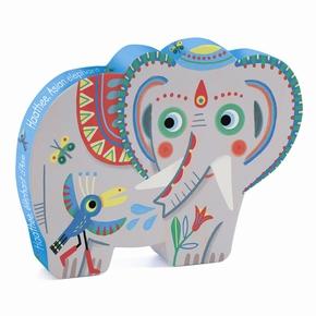 Silhuet puslespil, Elefant - 24 brikker