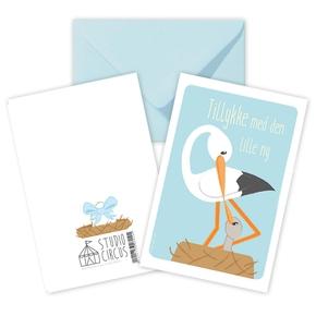 Tillykke blå, dobbeltkort m/kuvert