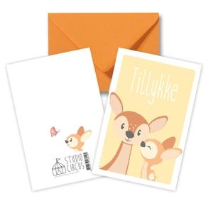 Tillykke Bambi, dobbeltkort m/kuvert