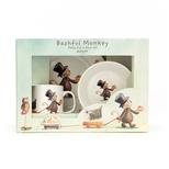 Bashful abe, skål, kop og tallerken