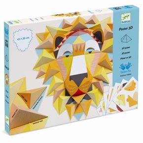 Kreativ papirfoldning -3D plakat, Løve